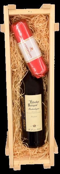 """""""Fredenhagen Kiste"""" - 1 Fl. Rotspon Fredenhagen (0065) 1 St. 200g Niederegger Marzipan (9101)"""